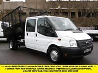2014 FORD TRANSIT 350/100 DRW DOUBLE CREW CAB STEEL CAGED TIPPER WITH ONLY 46.00