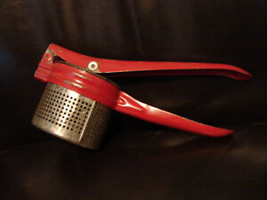 vintage 1940's Red Steel Kitchen Strainer / Juicer Hand Press