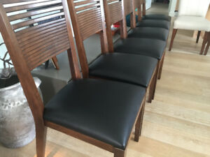 8 Designer Maria Yee leather and wood dining chairs