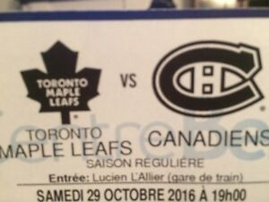 Habs vs Leafs October 29th! Pair of tickets in reds for $500!