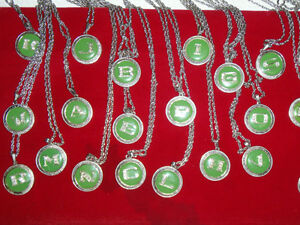 63 Different Letter Pendants, Red, Yellow, and Green