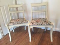 Pair of shabby chic painted cream vintage floral dining chairs