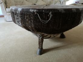 Vintage zebra skin drum table