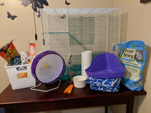 Large cage with all accessories you'd need for rats