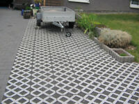 Recycled plastic pavers for driveways, patios and parking