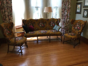 Beautiful Antique German Wingback Sofa and 2 Arm Chairs