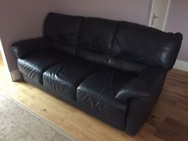 Navy blue leather sofa's and chair