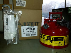 Justrite Jerry can. Gas can,  Safety can.
