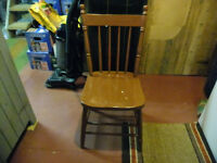 Antique Wood Press Back Chair