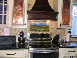 CUSTOM MADE SOLID WOOD, STOVE HOOD & VENTILATION+LIGHT
