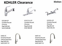 Kohler Clearance - Faucets Kitchen and Bathroom/Lav