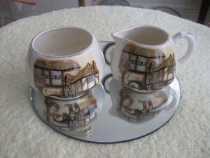 "OLD VINTAGE ENGLISH WARE ""THE JOLLY DROVER"" CREAM & SUGAR SET"
