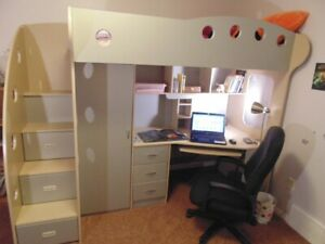Jysk TWIN size Loft bed with built in desk and lots of storage.