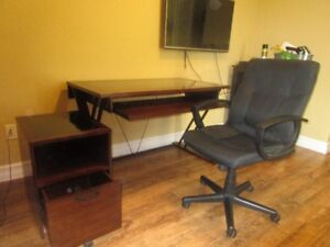 Computer table, matching file cabinet, and black office chair