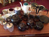 Tea pots, vintage crockery job lot