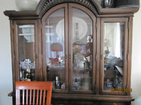 Large Cherry Wood Dining Room Hutch Cabinet