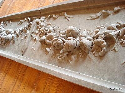 Stucco - große 2tlg. Fassadenstuck 132-3110B Schmuckplatte aus Beton Jugendstil
