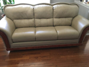 3 Piece Full Genuine Oversized Leather Couches wood trim