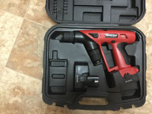 Mansfield double chuck drill,batteries no charger like new. $20