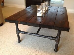 NEW Super on Trend Coffee Table made of Real Wood and Solid Pipe