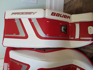 Bauer hockey pads, gloves, CCM mask