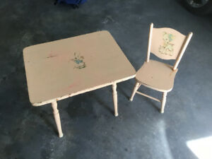 For sale: Child's wooden table and chair
