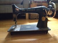 Antique Singer Sewing Machine and Sewing Kit