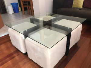 Unique and beautiful coffee table for sale with 4 seats $200