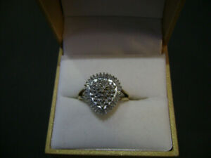 Diamond ring  Two Toned  White/Yellow  Gold  Pear Shaped