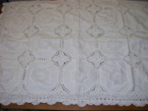 Beautifully detailed white Battenburg lace rectangle tablecloth