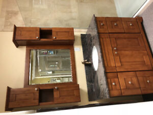Caramel shaker style vanity with mirror/cabinet upper w/ granite