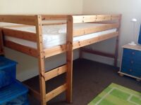Single Pine Mid Sleeper Cabin Bed Frame