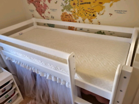 Children's Mid Sleeper Bed 70x160cm with mattress and curtains