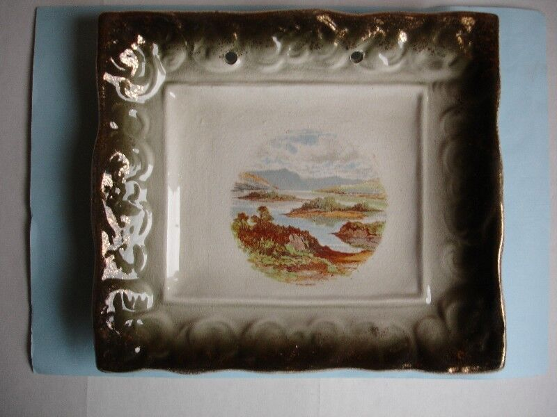 """Pair of 19C Staffordshire Pottery Luster Wall Hanging Plaques of the  """"Killarney Lakes"""""""