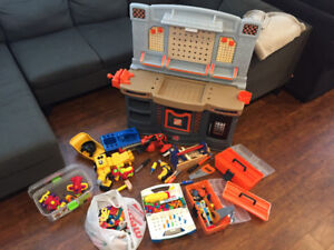 Kids toolbench, tool boxes, toys and tools