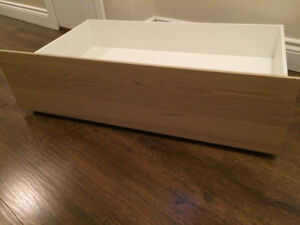 "One Ikea Malm White Oak Underbed Storage with wheels 39"" wide"