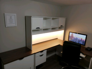 L-shape desk, filing cabinet, office chair