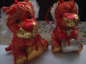 Two Lucky Chinese Dragon Stuffed Toys