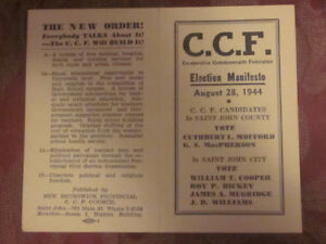 Election Memorabilia CCF Party of Canada 1940`s