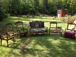 Antique chair set ready for refinishing