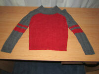 Boy RED Sweater with Gray Trimming, Size = 5 Tall