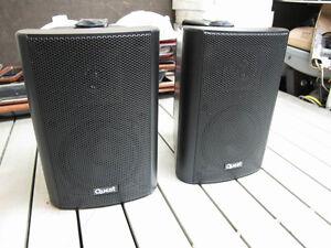 Quest indoor/outdoor hall/bookshelf/PA 100W pro speakers, exclnt