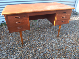Vintage retro Danish wooden teak 60s teak office work desk