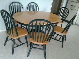 %%% OAK table, 6 chairs
