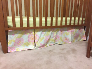 Girls crib and nursery decor- really great colours!