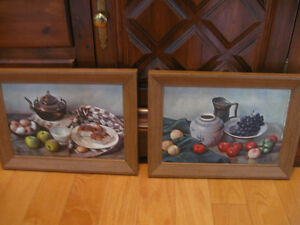 Pr.MATCHING OLD VINTAGE HANK BAY STILL LIFE KITCHEN PRINTS