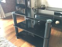 Black tempered glass tv stand as NEW