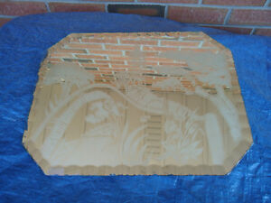 VINTAGE MIRRORED VANITY TRAY BEVELLED EDGE ETCHED WITH ORIENTAL
