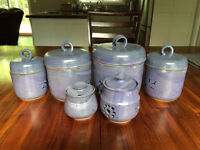 Handmade pottery canister set 6 pieces Leishman Pottery NICE!