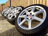 "18"" genuine Honda Civic FN2 type R alloy wheels and tyres 5x114.3 mk8"
